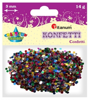 Konfety, kolečka, mix, 3 mm, 14g
